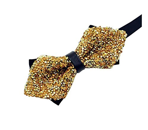 MENDENG Men's Stylish Shining Rhinestone Bowtie Sparkle Adult Tuxedo Bow Tie (Gold Sparkle Bow Tie)