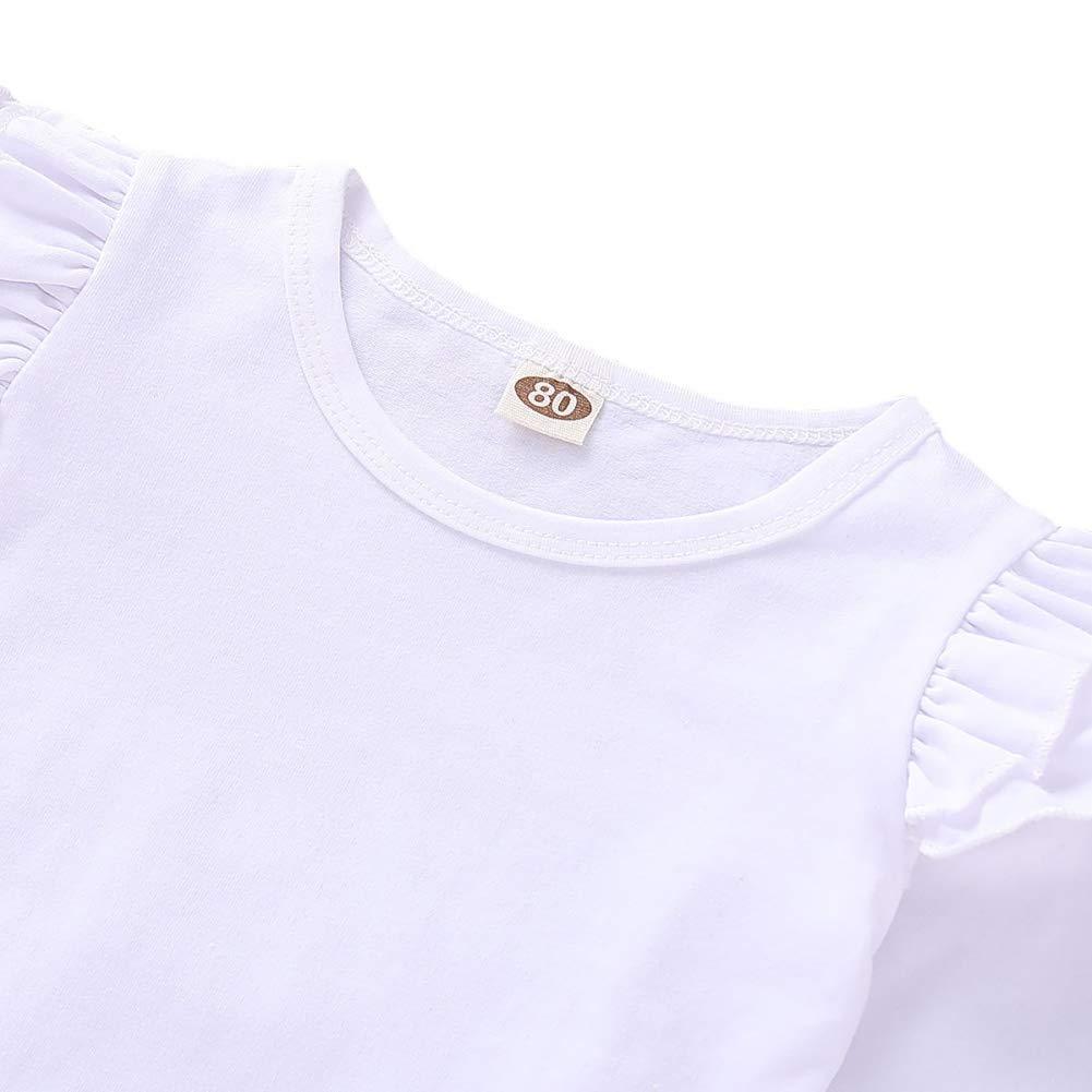 BOBORA Ensemble B/éb/é Filles Printemps 2PCs T-Shirt Blanc /à Manches Longues en Coton avec Jupe /à Carreaux