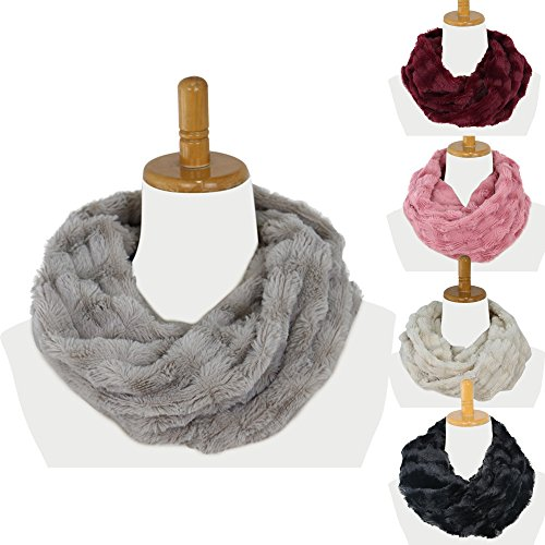 Infinity Scarf  Ruglush Faux Fur Scarf For Women And Men  Super Soft  Stretchy And Lightweight Winter Scarf Shawl Neck Warmer  Gray