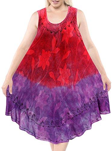 LA LEELA Rayon Tie Dye Short Office Wear Beach Cover Up Pink 542 Plus Size