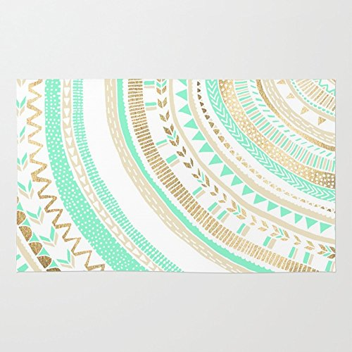 Society6 Mint + Gold Tribal Rug 4' x 6' (Mint Rug)