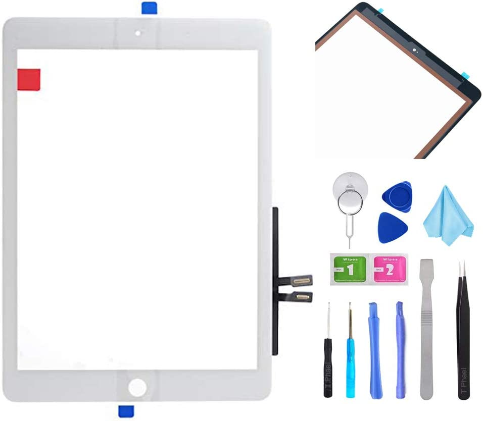 """White Touch Screen Digitizer Repair Kit for iPad 9.7"""" 2018 iPad 6 6th Gen A1893 A1954 Front Glass Replacement (Without Home Button,not Include LCD) +Pre-Installed Adhesive + Tools"""
