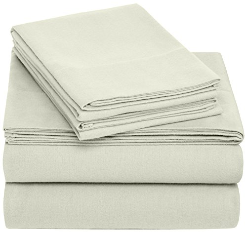 Pinzon Cotton Flannel Bed Sheet Set - Full, Sage - Made in Portugal; Full set includes flat sheet, fitted sheet, and 2 standard pillowcases Velvet flannel provides luxurious softness in a breathable weave Double-napped finish on both sides has an ultra velvety feel; 170 gram flannel weight - sheet-sets, bedroom-sheets-comforters, bedroom - 51AG5AA4UsL -