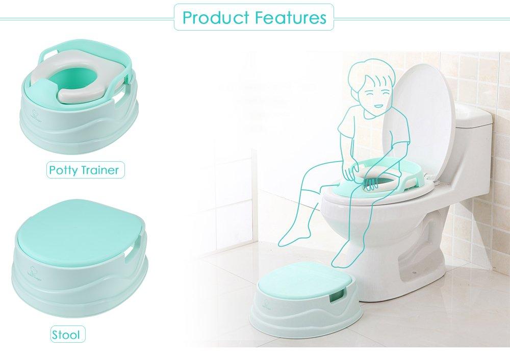2 in 1 Töpfchentrainer Kinder Töpfchen Traniner Einstellbar Toilettensitz mit Leiter Töpfchen Sitz mit Treppe (Green) GBlife