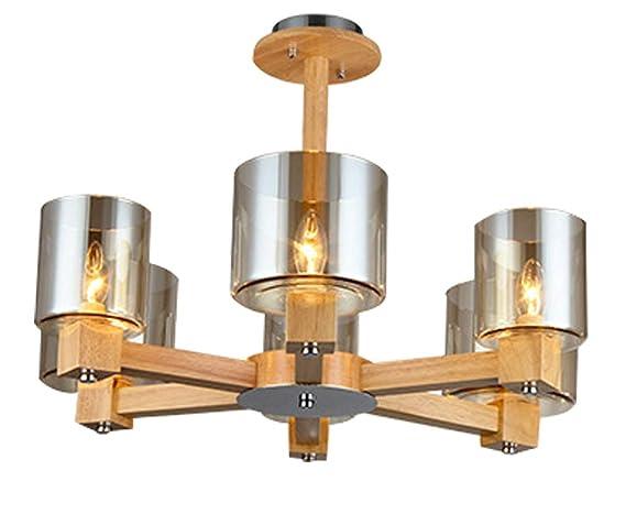 Plafoniere In Legno Rustico : Lampada a sospensione in legno e vetro