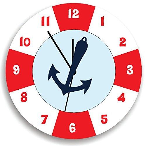 lifesaver lifebuoy nautical Clock, Nautical Nursery Room Decor (Lifesavers Personalized)