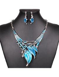 Winson New Women Lake Blue Statement Bib Choker Necklace Earring Jewelry Set