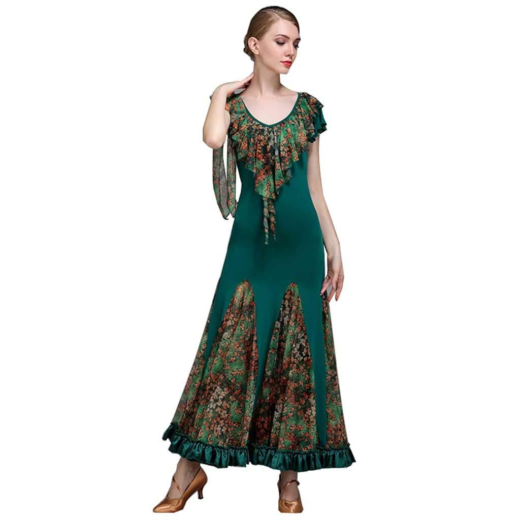 サテンエッジボールルームダンス競争衣類女性の服 B07HG41KSH XXL|ダークグリーン ダークグリーン XXL