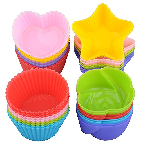 Silicone Cupcake Liners Cake Mold - Lunaoo 24 Nonstick Baking Muffin Cups Heat Resistant Reusable - Make Nice and Cute Cupcakes for Party - BPA Free FDA Approved