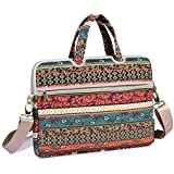 Kayond Canvas Fabric Ultraportable Neoprene For 15-15.6 Inch Laptop / Notebook Computer / Macbook / Macbook Pro / Macbook Sleeve Office Tote Briefcase Carry Case (15-15.6 Inches, Red Bohemia)