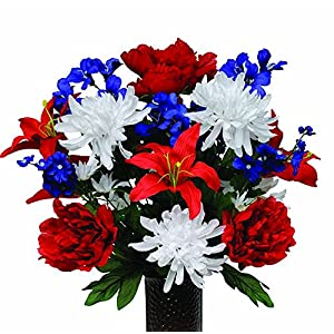 Red, White, and Blue Mix Artificial Bouquet, featuring the Stay-In-The-Vase Design(c) Flower Holder (MD1119) 28