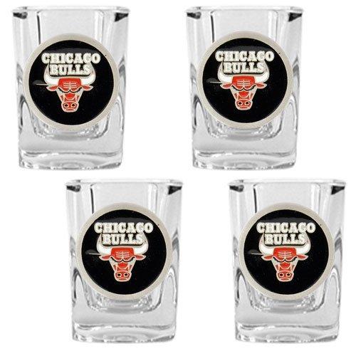 NBA Chicago Bulls Four Piece Square Shot Glass Set