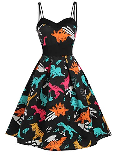 KCatsy Dinosaur Cami Empire Waist Dress