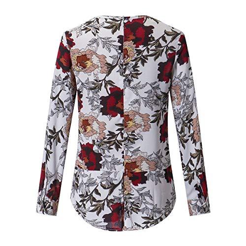 Manga De Camisa La Blusa Cremallera White Con Floral cuello Dobladillo Estampado Para Espalda O Irregular Larga En Mujer CCSHOrx7wq