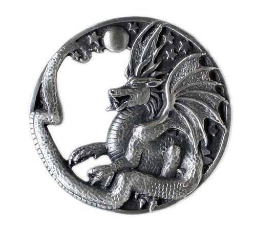 Pewter Belt Buckle - Fantasy Dragon - Pewter Belt Buckle