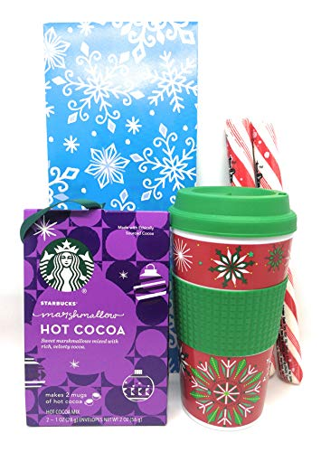 Hot Chocolate Gift Set With Starbucks Cocoa, 2 Jumbo Atkinson's Peppermint Sticks, and 16.5 Ounce Greenbrier Travel Mug in Christmas Themed Gift Box (Marshmallow, Snowflakes) ()