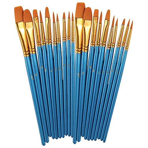 (BOSOBO Paint Brushes Set, 2 Pack 20 Pcs Round Pointed Tip Paintbrushes Nylon Hair Artist Acrylic Paint Brushes for Acrylic Oil Watercolor, Face Nail Art, Miniature Detailing & Rock Painting,)