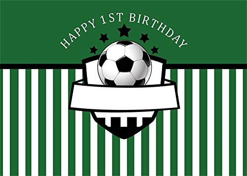 Leowefowa 7X5FT Boys Happy 1st Birthday Backdrop Football Backdrops for Photography Green and White Stripes Wallpaper Polyester Photo Background Kids Bedroom Wallpaper Studio Props