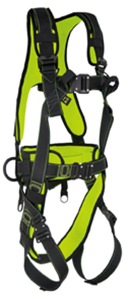 Guardian Fall Protection 11027 S-L Cyclone Construction Harness with Pass-Thru Chest Buckle, Leg Tongue Buckles and Waist Tongue Buckle