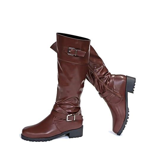 Botas para Mujer De Cuero Planos Largo Botas Altas Las Rodillas Alto Otoño Cremallera Zapatos De Mujer Moda Cómodos Negras Verde Marrón 35-43
