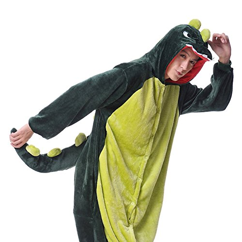 Aoibox Unisex Adult Pink and Dinosaur Animal Cosplay Onesie Pajamas Size L?GreenDinosaur