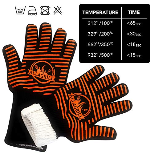 All4Grill BBQ Grill Gloves and Mat Set – Extra Large Extreme-Heat-Resistant BBQ Gloves with Nonslip Silicone Grip – Grilling Kit Includes Nonstick Grill Mat & Recipe eBook