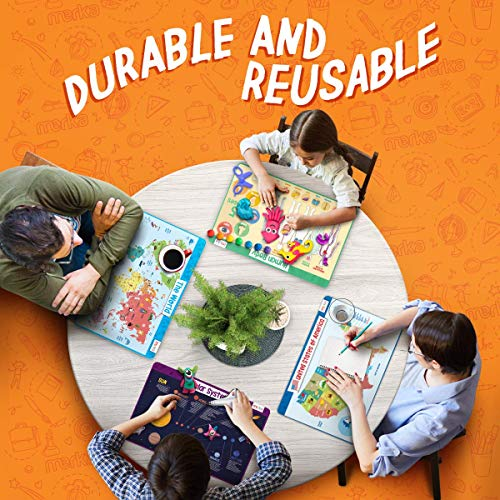 merka Educational Placemats for Kids - Explorer Set - Bundle of 4 Mats - Human Body, USA and World Map and The Solar System - Non Slip, Washable and Reusable - Planets, Countries, States and Capitals