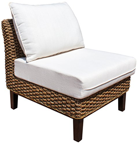 Panama Jack Sunrooms PJS-1001-ATQ-A Sanibel Armless Chair with Cushion, Sunbrella Foster Metallic