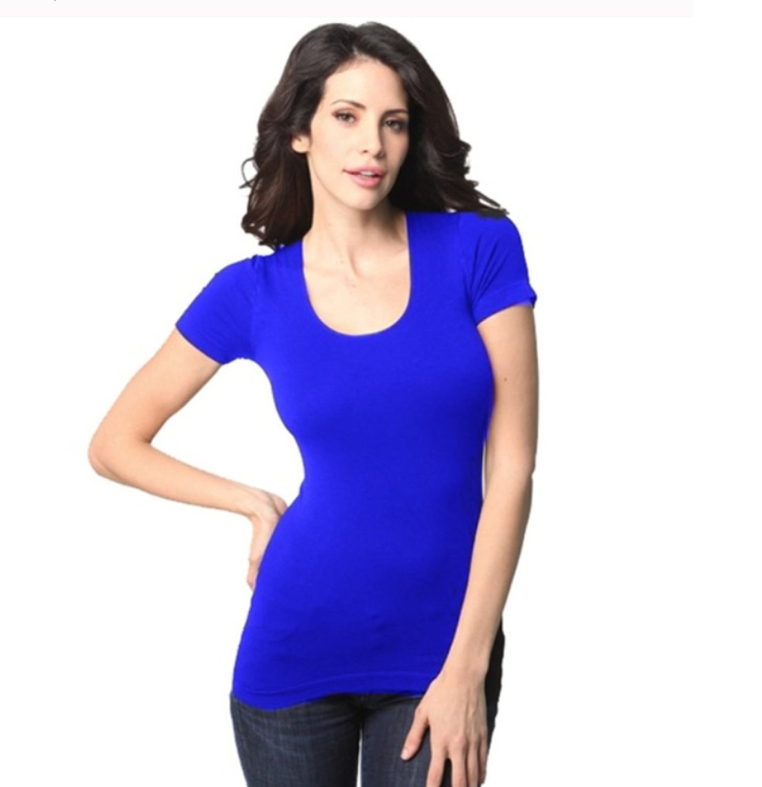 Tees by Tina Women's Seamless Maternity - Non Maternity Everyday Short Sleeve U-Neck Top (Cornflower Blue, One Size)