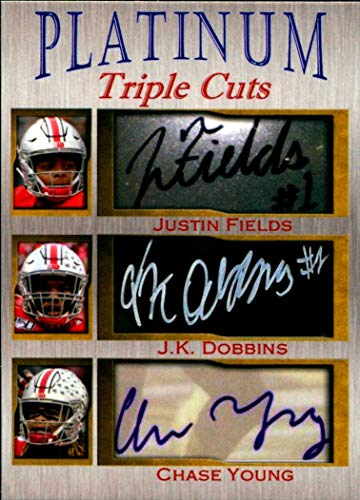 Justin Fields J.K. Dobbins Chase Young Platinum Triple Cuts facs auto autograph football card 1/1000 Ohio State Buckeyes from Generic