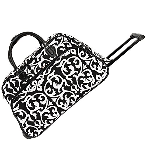 (World Traveler 21-Inch Carry-On Rolling Duffel Bag, Black Trim Damask)