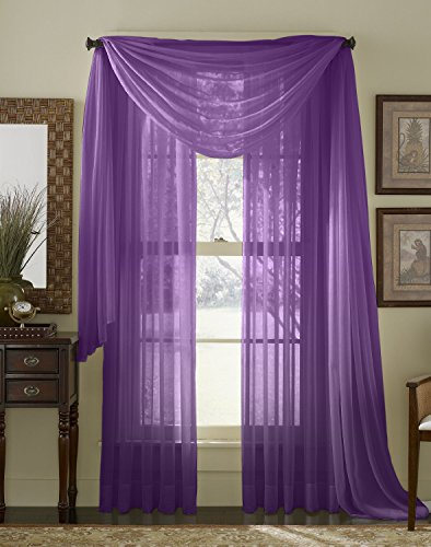 HLC.ME Purple 2-Pack 108' inch x 84' inch Window Curtain Sheer Panels
