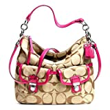 Coach Daisy Signature Pocket Hobo Crossbody Shoulder Bag Purse 23392 Khaki Pink