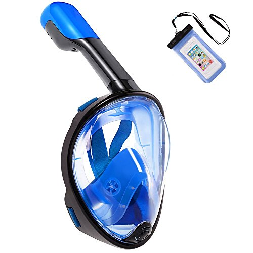 Zeeshy Snorkel Mask -180°Full Face Diving Snorkeling Mask Easy to Breathe-Anti Fog & Anti Leak Panoramic View Dry Snorkel and Purge Mask for Women,Men,Adults and Kids(Black - Your Glasses Size Find How To