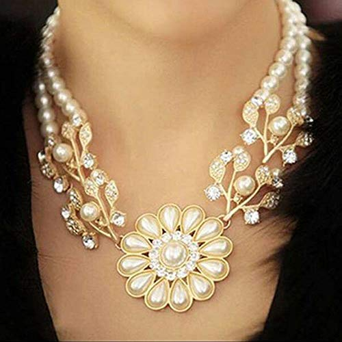 (Gifts Pendants Statement Necklace Jewelry Simulated Pearl Chain Flower Choker)