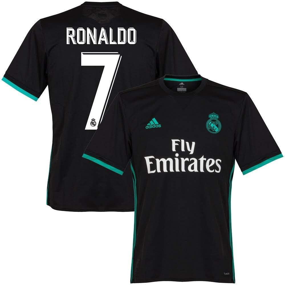 Playera del Real Madrid de Ronaldo N°7 2017 2018, hombre, negro: Amazon.es: Deportes y aire libre