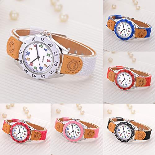 Fashion Children Kids Arabic Numbers Nylon Band Wristwatch Analog Quartz Watch Wrist Studens Watches by Gaweb (Image #2)