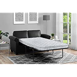DHP Premium Pull Out Couch Twin Size Black Faux Leather Sofa Sleeper