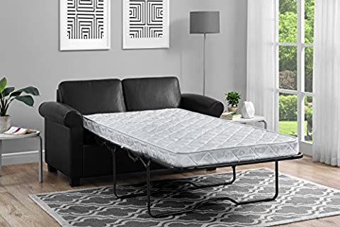 DHP Premium Sofa Bed, Pull Out Couch, Sleeper Sofa with Pull Out Bed, Twin Size Black Faux Leather Sofa Sleeper, Coil Mattress Included, Convertible Couch, Sturdy Wood Frame with 400 lb Weight (Twin Sleepers)
