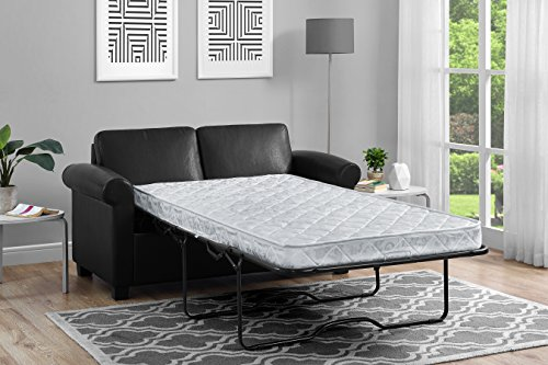 DHP Premium Sofa Bed, Pull Out Couch, Sleeper Sofa with Pull Out Bed, Twin Size Black Faux Leather Sofa Sleeper, Coil Mattress Included, Convertible Couch, Sturdy Wood Frame with 400 (Living Room Sleeper Mattress)