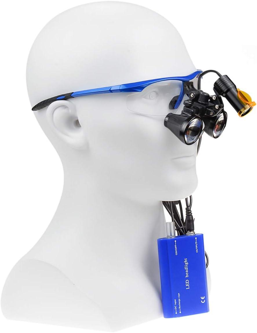 Ocean Aquarius Blue 2.5X420MM Surgical Binocular Loupes Magnifier Aluminum Box 008 5W Portable LED Headlight Plug in Clip Head Light with Filter