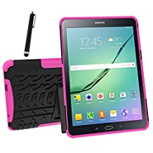 Galaxy Tab S2 9.7 Case, Tab S2 9.7 Case, Asstar Shockproof Heavy Duty Rugged Hybrid Kickstand Protective Case for Samsung Galaxy Tab S2 9.7 inch Tablet with 1x Stylus Pen for Free (Rose)
