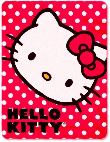"Hello Kitty, Polka Dot Kitty Printed Fleece Throw, 45"" x 60"""