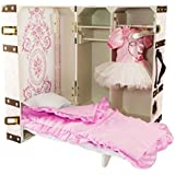 The Queen's Treasures 18 inch Doll Pink Storage Trunk Suitcase, Storage for Clothes, Doll Bed, Bedding, and Hangers. Designed for 18 inch Girl Doll Furniture, Clothing, and Accessories.