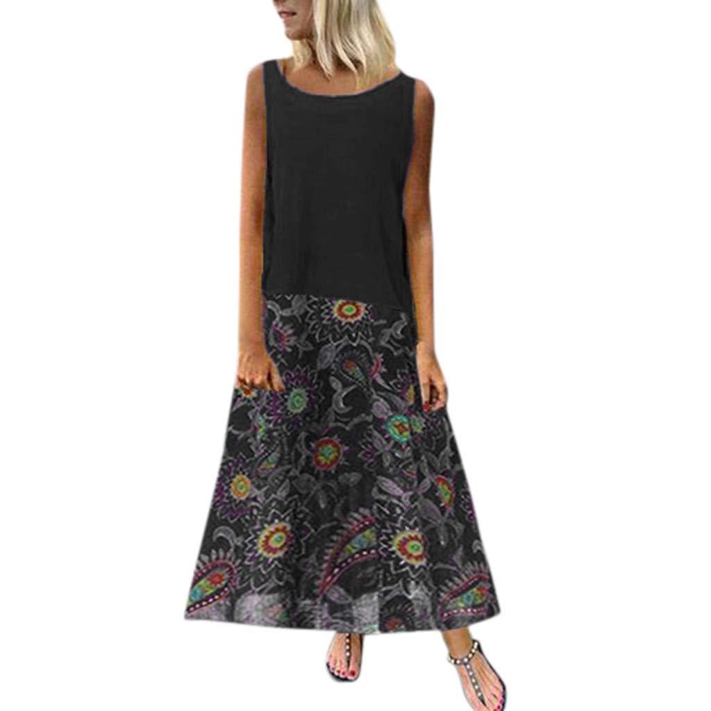 Yellsong Loose Dress Set,2PC Vintage Women Cotton Linen Print Sleeveless Plus Size Maxi Dresses Casual Loose Bohemian Floral Empire Waist Spaghetti Strap Long Maxi Summer Beach Swing Dress