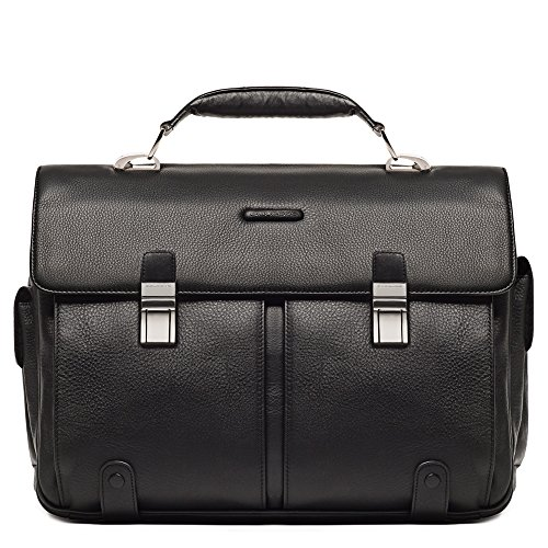 Piquadro Leather Briefcase 2 Gussets Exterior Pen Holder, Black, One Size by Piquadro
