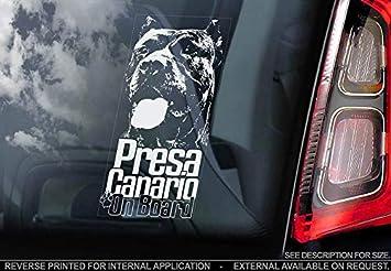 Celycasy Presa Canario On Board Autofensteraufkleber Dogo Kanarienvögel Mastiff Hund Schild Aufkleber V02 Küche Haushalt
