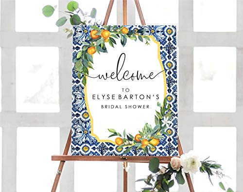 Dozili Oranges Bridal Shower Welcome Sign Positano Blue