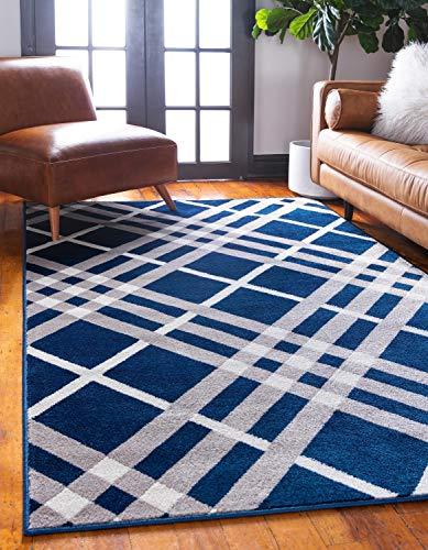 Unique Loom Open Hearts by Jane Seymour Collection Contemporary Abstract Over-Dyed Plaid Navy Blue Area Rug (4