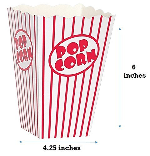 20 Popcorn Boxes Good For Movies Striped White and Red